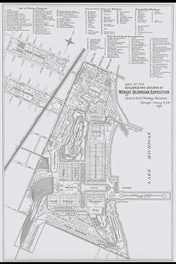 1893 Chicago Columbian Exposition Fair Grounds Map